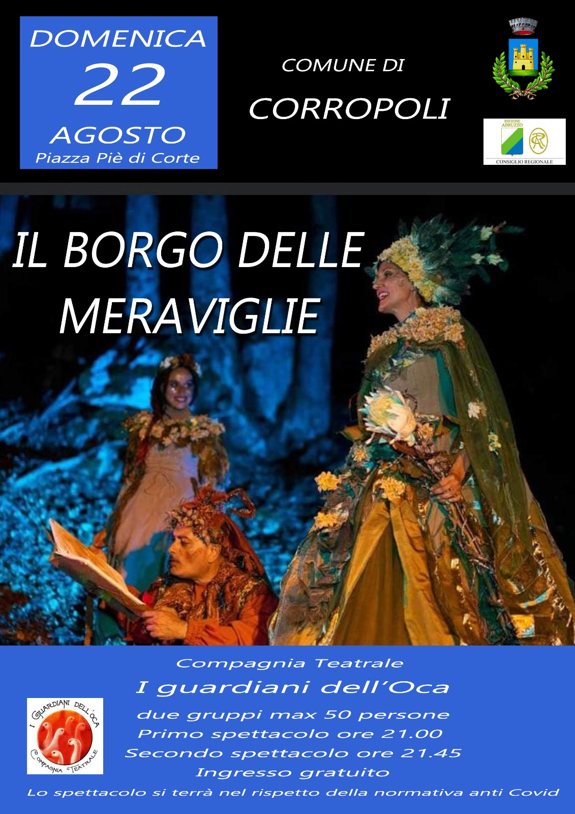 """""""RACCONTI D'ESTATE - Corropoli in Fiaba""""  """"IL BORGO DELLE MERAVIGLIE """"  Domenica 22 Agosto 2021 ore 21.00 Piazza Pie' di Corte"""