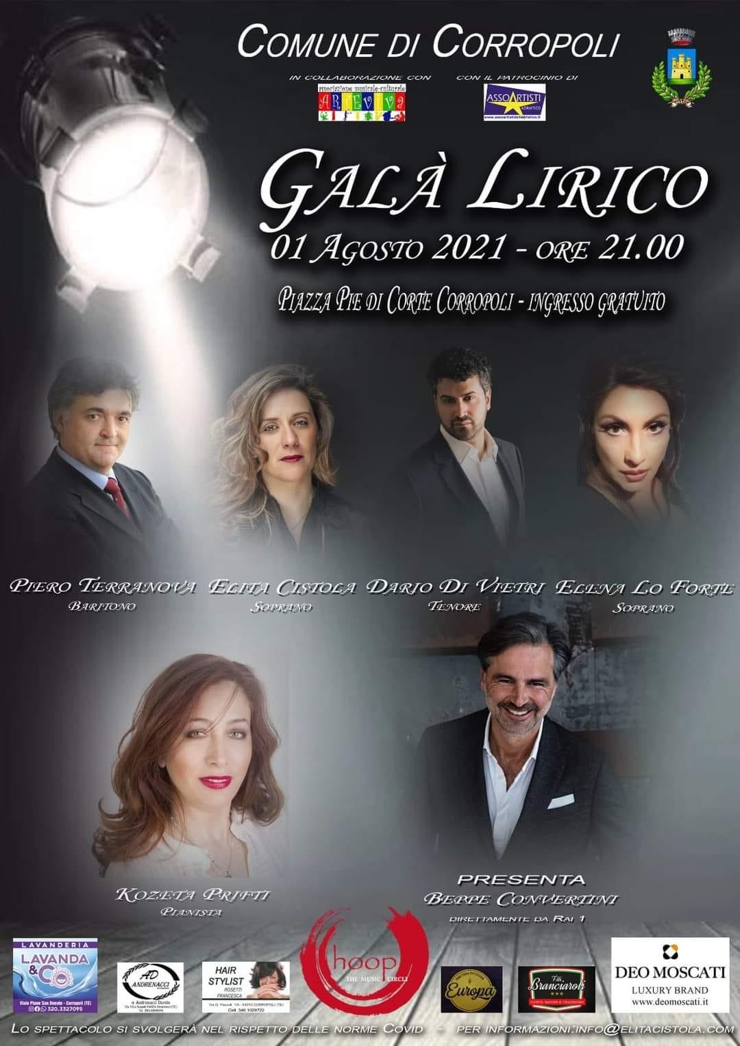 """""""Galà Lirico """" Domenica 1° Agosto  2021 ore 21.00  Piazza Pie' di Corte"""