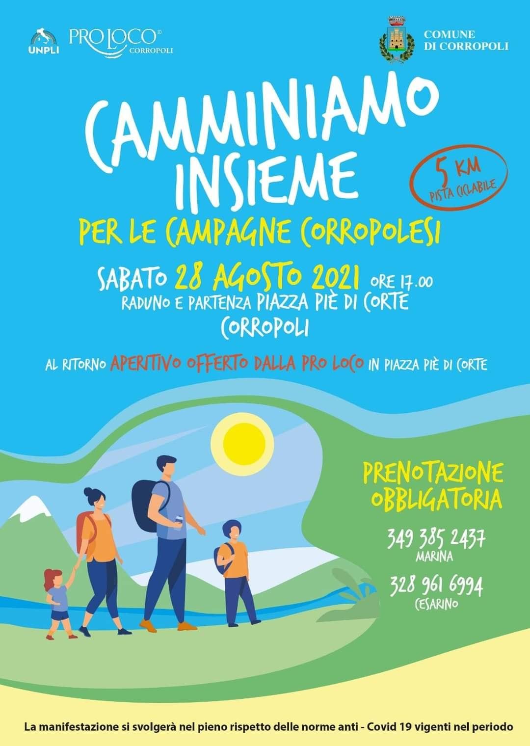 """Camminiamo insieme per le """"Campagne corropolesi"""" Sabato 28 Agosto ore 17.00"""