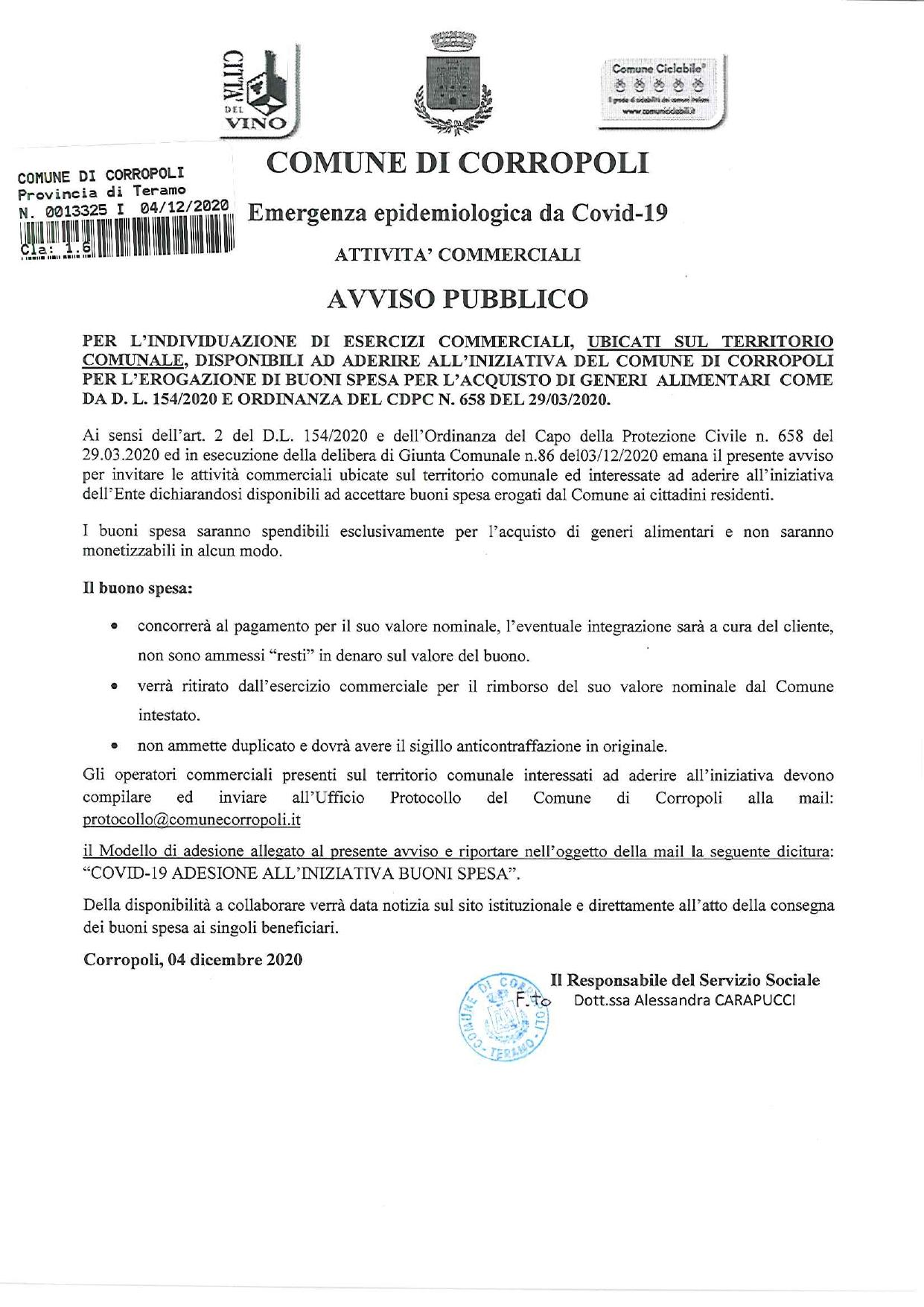 AVVISO PUBBLICO: BUONI SPESA EMERGENZA COVID 19 - ADESIONE ESERCIZI COMMERCIALI