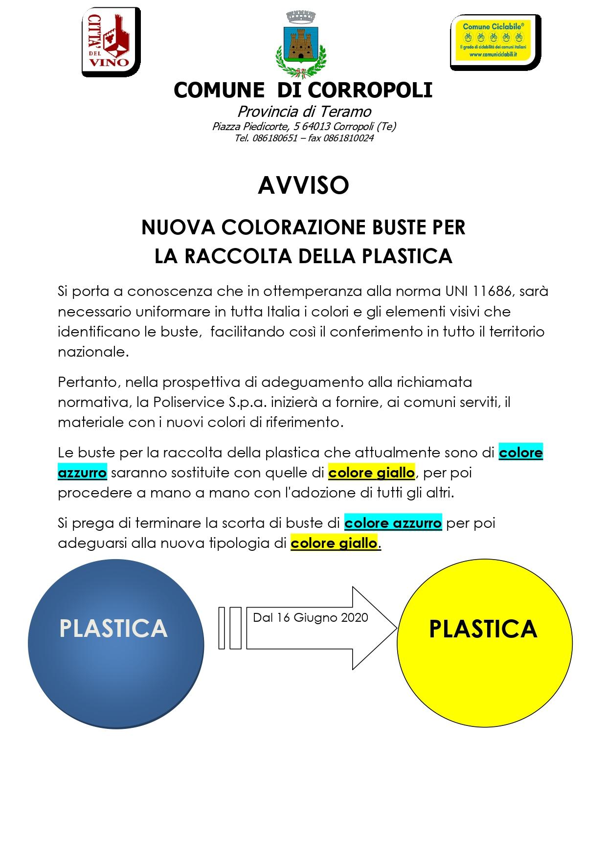 NUOVA COLORAZIONE BUSTE PER LA RACCOLTA DELLA PLASTICA