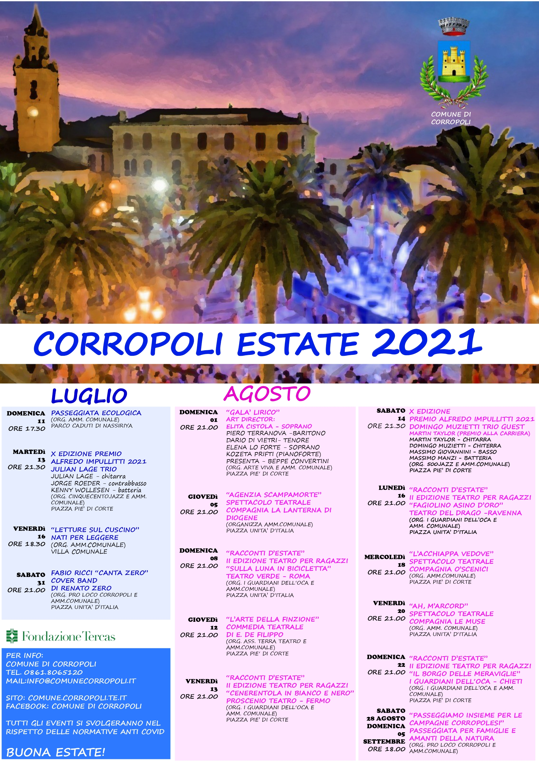 CORROPOLI EVENTI ESTIVI 2021   INDICAZIONI PER LA PARTECIPAZIONE