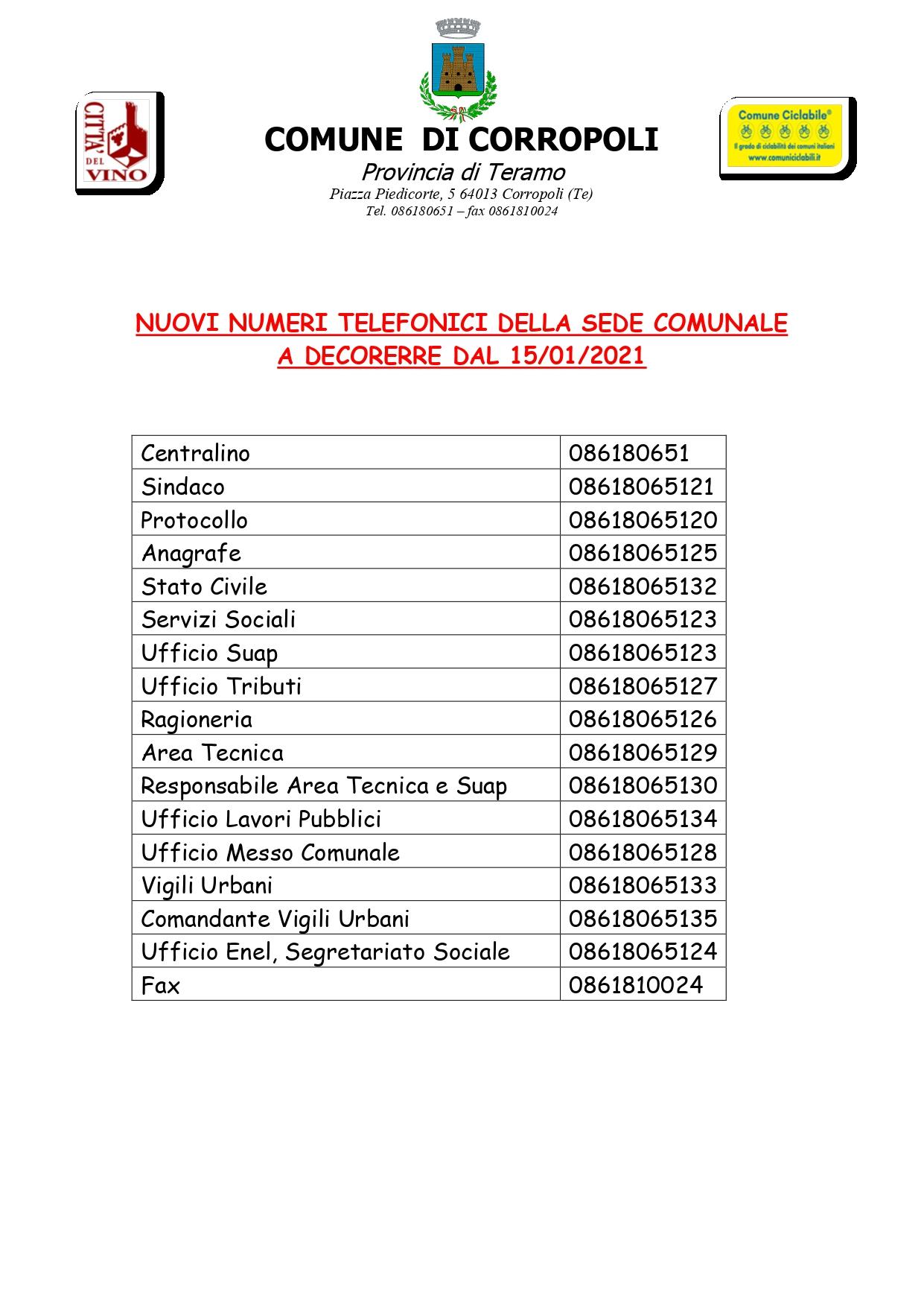 NUOVA NUMERAZIONE TELEFONICA DELLA SEDE COMUNALE A DECORERRE DAL 15/01/2021