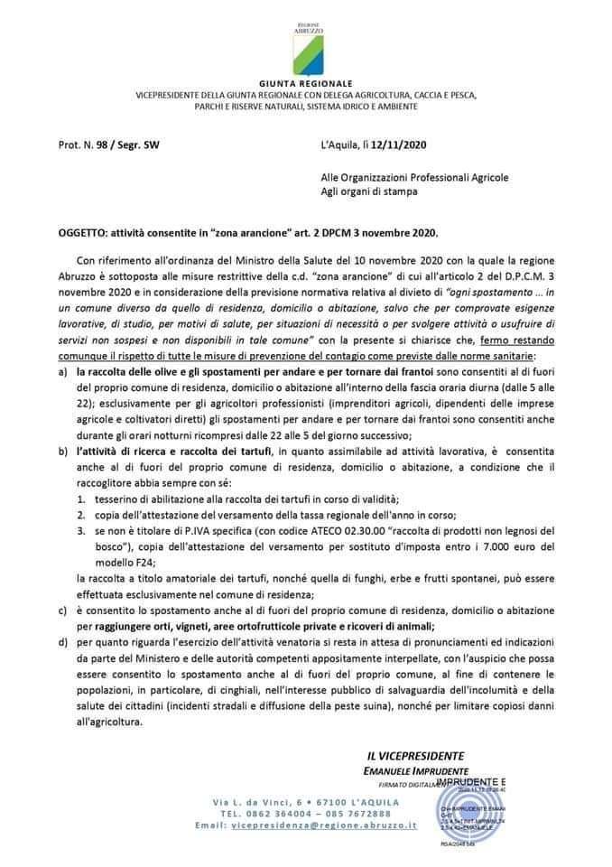 Chiarimenti da parte della Regione Abruzzo