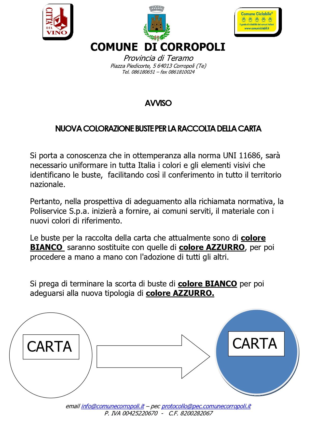 AVVISO ALLA CITTADINANZA - Consegna Buste Raccolta Differenziata