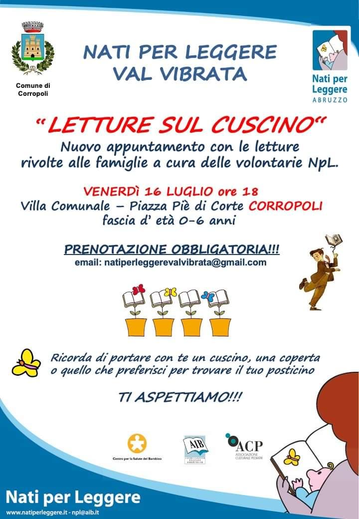LETTURE SUL CUSCINO - Venerdì 16 Luglio ore 18 Villa Comunale - Corropoli paese.