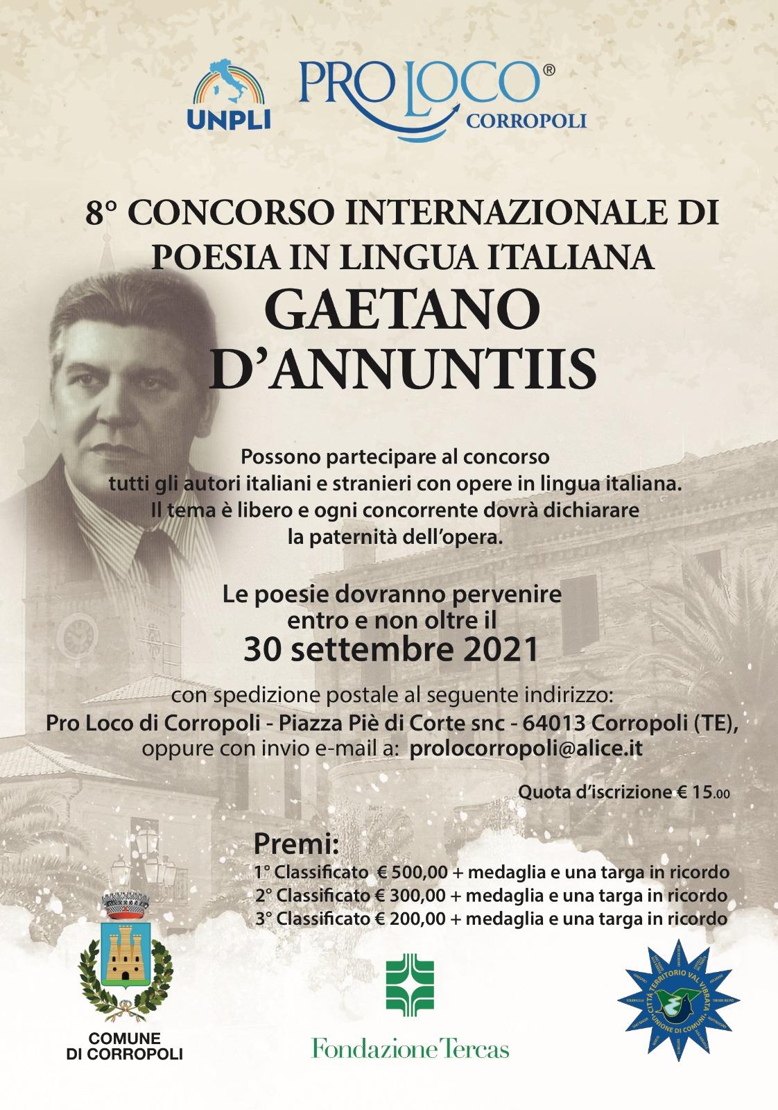 8°CONCORSO INTERNAZIONALE DI POESIA IN LINGUA ITALIANA