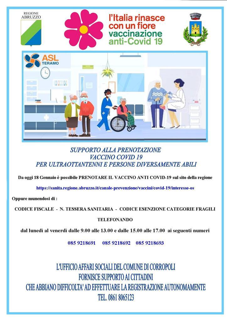 SUPPORTO ALLA PRENOTAZIONE  VACCINO COVID 19