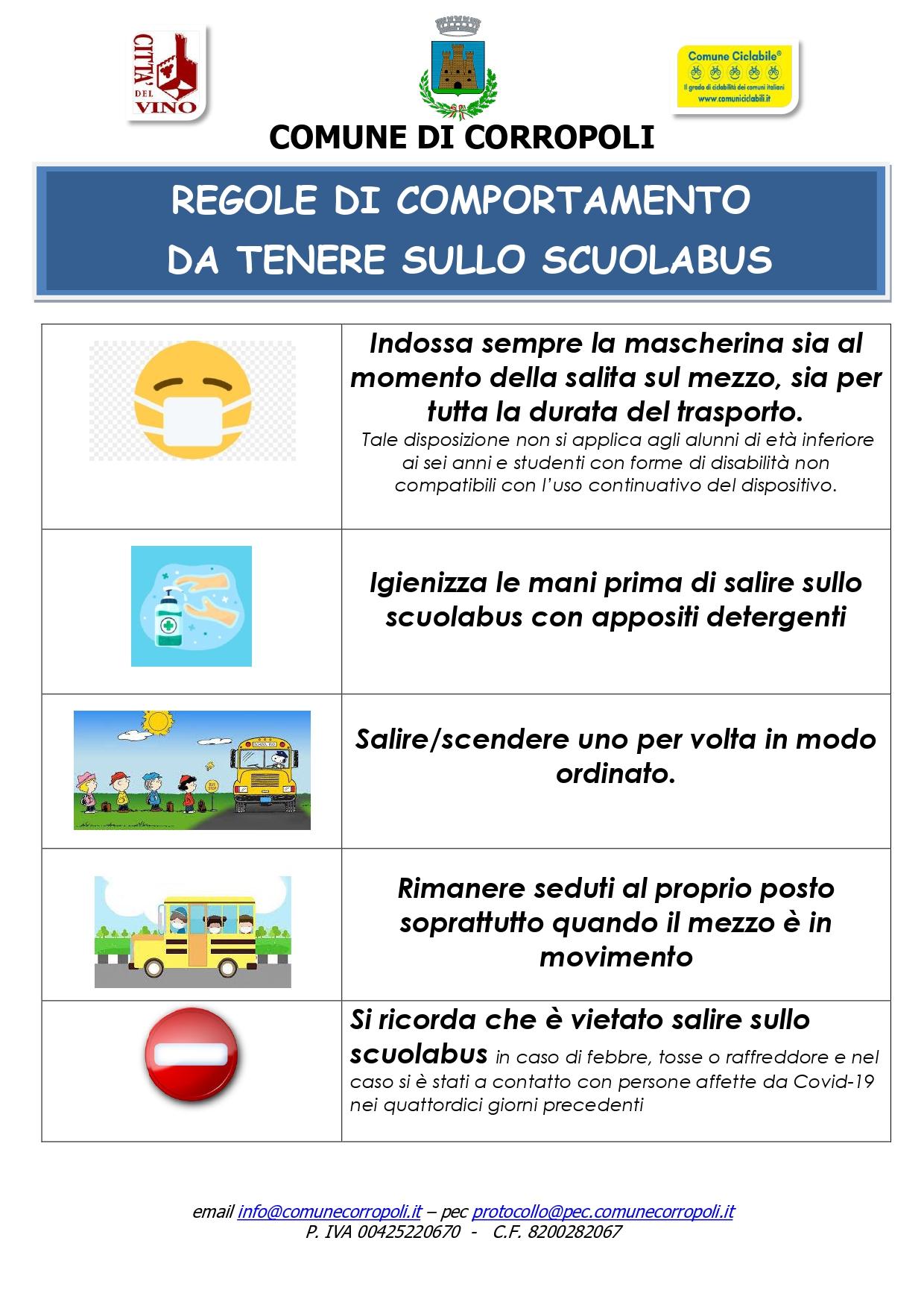 REGOLE DI COMPORTAMENTO DA TENERE SULLO SCUOLABUS