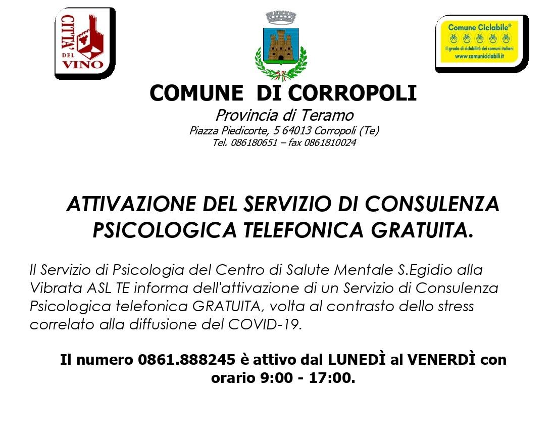 ATTIVAZIONE DEL SERVIZIO DI CONSULENZA PSICOLOGICA TELEFONICA GRATUITA.